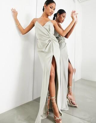 ASOS EDITION satin cami maxi dress with drape detail in sage green