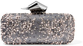 Jimmy Choo Cloud Embellished Lace And Gunmetal-tone Clutch - Silver