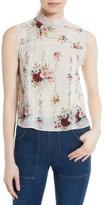 Alice + Olivia Women's Jonie Lace Trim Floral Silk Blouse