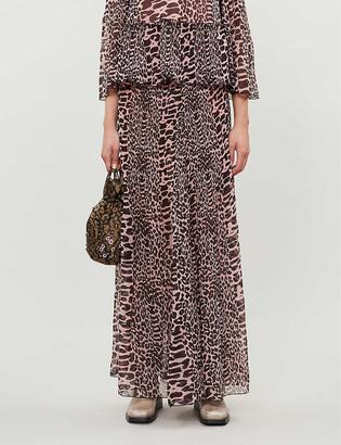 Ganni Leopard-print high-waist pleated crepe maxi skirt