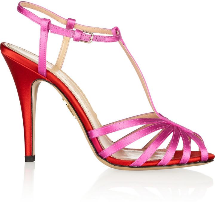 Charlotte Olympia Geraldine two-tone satin sandals