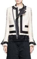 Sacai Guipure lace frayed Summer tweed jacket
