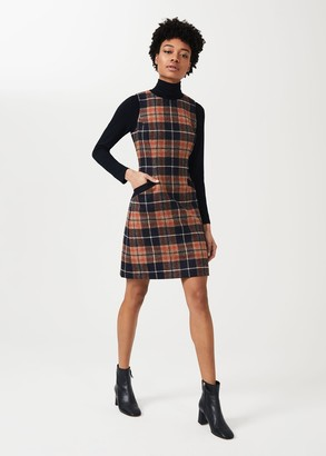 Hobbs Petite Nicola Wool Check Shift Dress