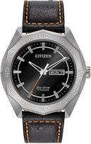 Citizen Men's Eco-Drive Black Leather Strap Watch 44mm AW0060-03E