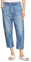 Vince Drawstring Cropped Denim Trouser, Light Wash