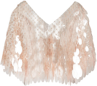 Paco Rabanne Clear Paillette-Embellished Chainmail Cape Top