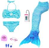 AUIE SAOSA Girl mermaid tail for swimming swimwear cover up sets+girls Goggles 7pcs B150