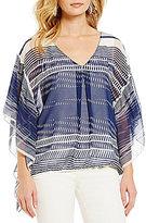 M.S.S.P. Printed V-Neck Flutter Sleeve Woven Blouse