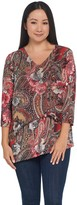 Susan Graver Printed Liquid Knit Asymmetrical Tunic w/Chiffon