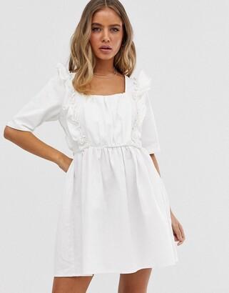 Asos Design DESIGN denim square neck frill smock dress in white