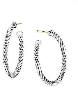 David Yurman Sterling Silver Cable Spiral Hoop Earrings