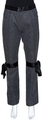 Chanel Grey Stretch Cotton Ribbon Detail Straight Fit Trousers L