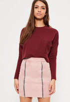 Missguided Pink Faux Suede Double Zip Front Mini Skirt