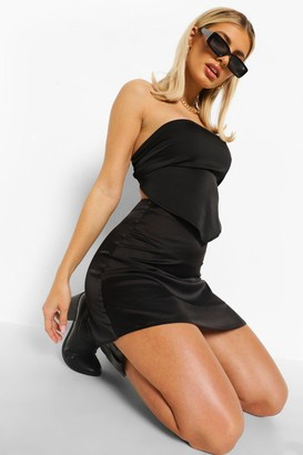 boohoo Satin A-line Mini Skirt