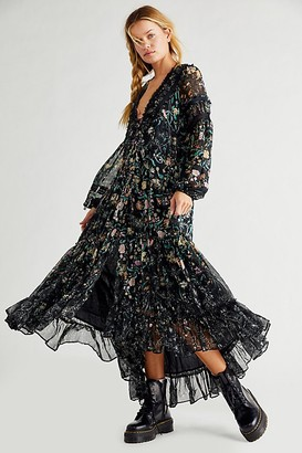 Free People Cassis Printed Chiffon Dress