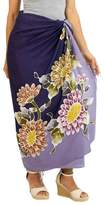 Hand Crafted Purple Rayon Sarong with Floral Motif, 'Thai Asters'