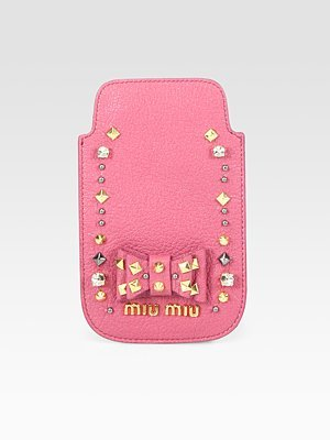 Miu Miu Madras Embellished Leather Case For iPhone