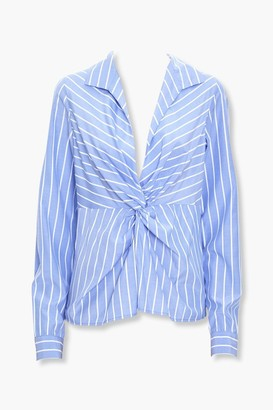 Forever 21 Pinstriped Twist-Front Top
