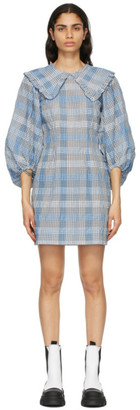 Ganni Blue Seersucker Check Mini Dress
