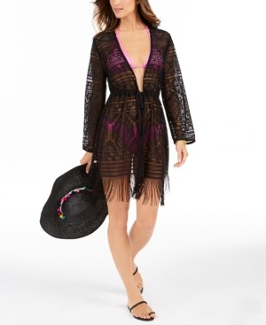 Dotti Bemus Fringed Crochet Kimono Cover-Up Women's Swimsuit