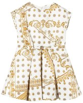 Young Versace White and Gold Bolli Print Party Dress