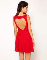 Rare Lace Skater Dress With Heart Cut Out Back