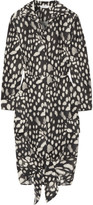Max Mara Leopard-print Cotton-poplin Dress - Charcoal