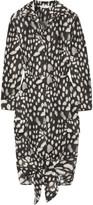 Max Mara Leopard-print Cotton-poplin Dress - Charcoal