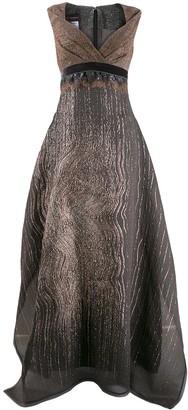 Talbot Runhof metallic effect long dress