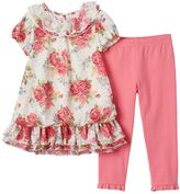 Nannette Toddler Girl Floral Lace Tunic & Leggings Set
