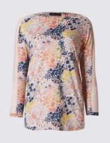 Marks and Spencer Pure Cotton Lace & Print 3/4 Sleeve T-Shirt