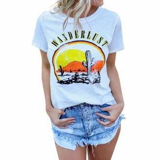 Lialbert Womens Clothes Lialber Save 15% Womens Summer Personality White Chest Pattern Premium Stretch Fabric Modal Scoop Neck Short Sleeve T-Shirt