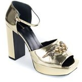 Roberto Cavalli Womens Metallic Gold Serpent Platform Pumps.