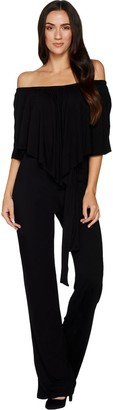 Laurie Felt Knit Jumpsuit with Overlay Detail