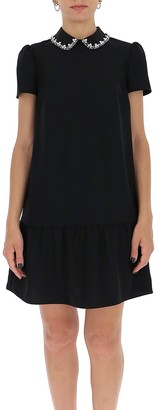 RED Valentino Collar-Detailed Embroidered Dress