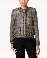 Tommy Hilfiger Tweed Fringe-Trim Blazer