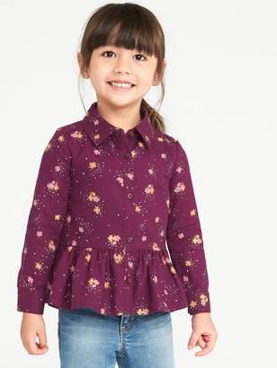 Old Navy Button-Front Peplum-Hem Top for Toddler Girls