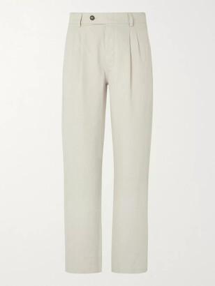 Mr P. Pleated Cotton and Linen-Blend Suit Trousers - Men - Gray
