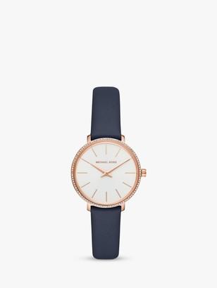 Michael Kors Women's Pyper Crystal Leather Strap Watch