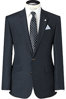 John Lewis Tailored Linen Shadow Check Jacket, Navy