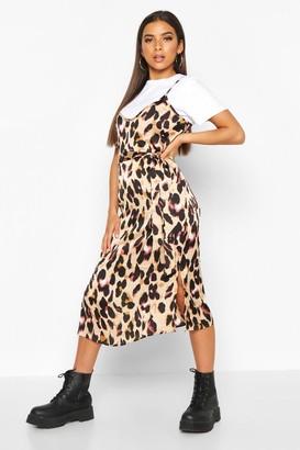 boohoo Leopard Satin Slip Dress