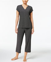 Charter Club V-Neck Top and Cropped Pants Striped Knit Pajama Set, Only at Macy's