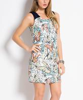 Ivory & Multicolor Butterfly Sleeveless Sheath Dress