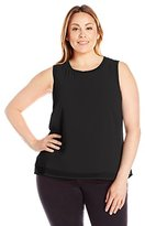 Calvin Klein Women's Plus Size S/L Top W/ Rib Trim