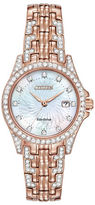 Citizen Silhouette Crystal Rose Goldtone Watch, EW1228-53D