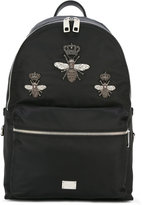 Dolce & Gabbana Volcano crowned bee patch backpack - men - Nylon - One Size