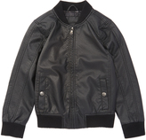 Urban Republic Black Faux Leather Bomber Jacket - Boys