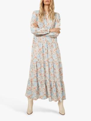 Warehouse Ornate Vines Tiered Midi Dress, Multi