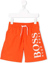 HUGO BOSS logo print swim shorts