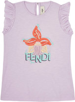 Fendi LOGO EMBROIDERED JERSEY T-SHIRT-PURPLE SIZE 9